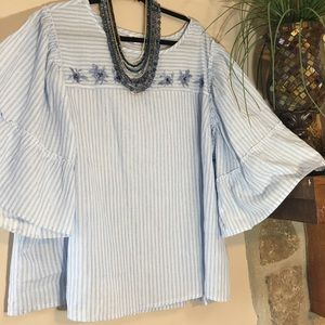 NWOT Breezy blue and white romantic top size 3X